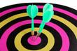 Target with darts close-up