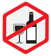 No alcohol allowed hexagon sign