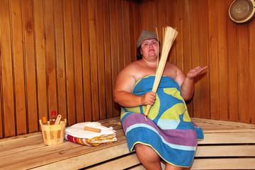 fun big woman in sauna