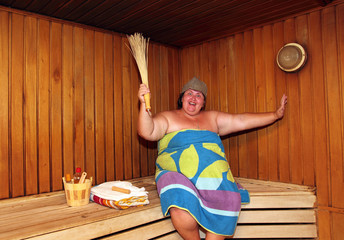 fun big woman in sauna