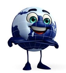 Globe Character is folding hand