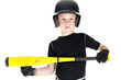 boy baseball player with his bat ready to bunt