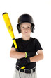 Small boy holding his baseball bat with a serious expression