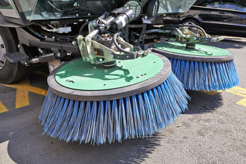 Process of urban street cleaning. Municipal machanical truck
