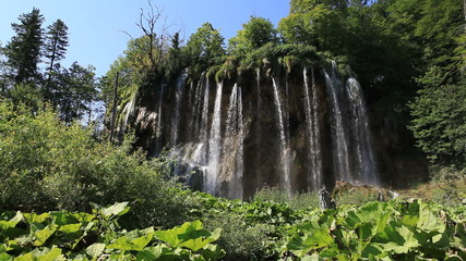 Waterfall in the Plitvice Lakes National Park in Croatia