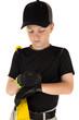 Young boy baseball player fixing his batting glove