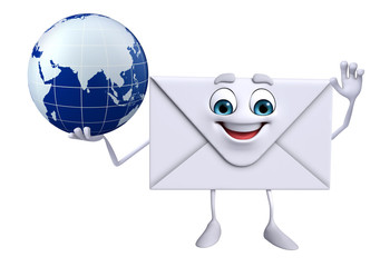 Mail Character with globe