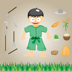 Illustration with farmers on the farm, vector cartoon