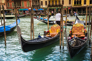Gondolas in Venice, oil painting.