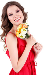 Beautiful young girl in red dress with flowers isolated on