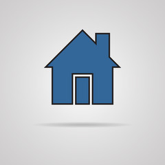 House icon with shadow. vector illustration
