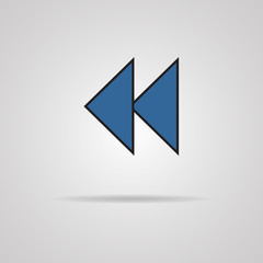 Reverse or rewind icon with shadow. Media player