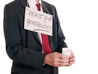 Unemployed businessman, down on luck, Begging. White background.