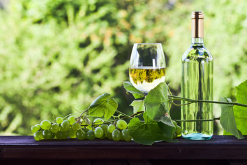 grape and white wine in vineyard