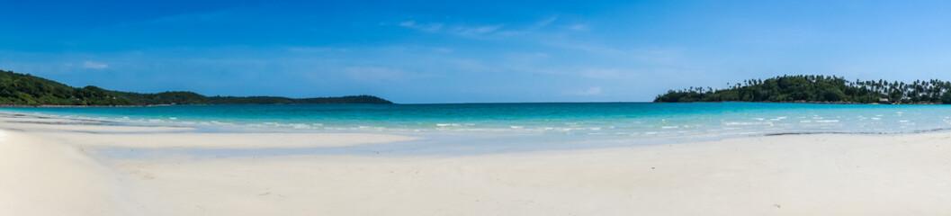 Panorama of the tropical sandy beach of Koh Kood, Thailand sea