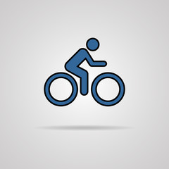 Cycling graphic symbol with shadow.