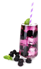 Tasty cool blackberry lemonade with ice, isolated on white