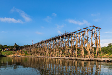 wooden bridge is the second longest in the world in thailand