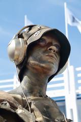 PERM, RUSSIA - JUN 15, 2013: Living sculpture golden woman