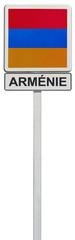 drapeau arménien sur panneau de signalisation