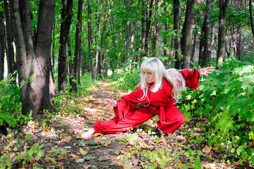 Woman in red suit of Japanese demon