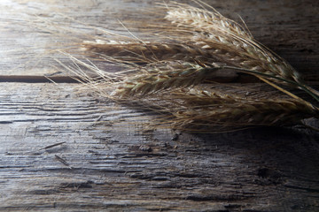 Wheat ears on the wood Background