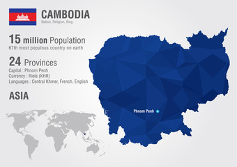 Cambodia world map with a pixel diamond texture.