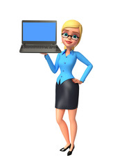 Young office girl with laptop