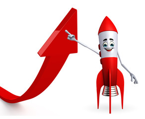 Rocket character with arrow sign