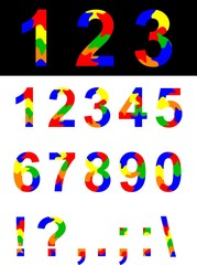Numbers and symbols.