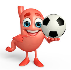 Cartoon Character of stomach with football