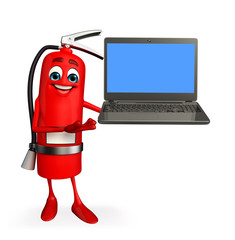Fire Extinguisher character with Laptop