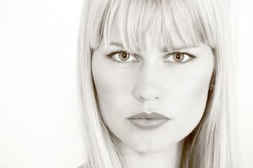 Beautiful model face in monochrome