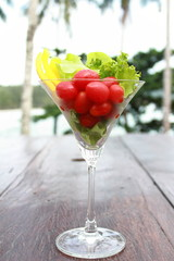 Vegetable salad in a glass