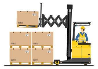 Yellow forklift (reach truck) on a white background