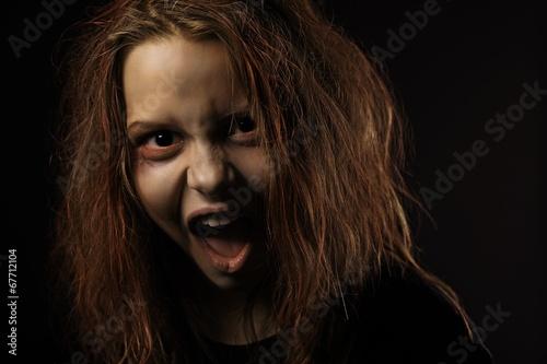 Shouting teen girl