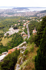Panorama of city Split from fortress Klis - Croatia, Dalmatia ar