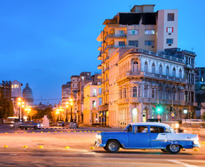 Urban scene at night in Old Havana