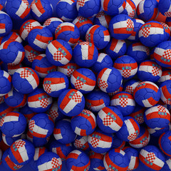 Croatia football balls. 3D render background