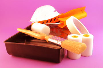 Painting Tools isolated on pink