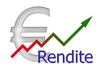 Diagramm aufsteigend Rendite mit Farbverlauf und Euro Symbol