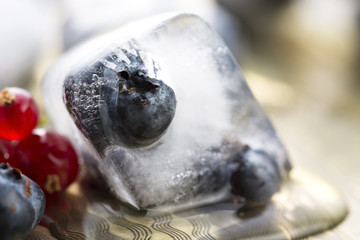 Fresh berry fruits frozen in ice cubes