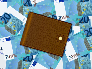 wallet on twenty euro background