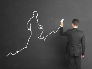 businessman draws the schedule