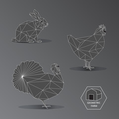 Gray scale geometric illustration of small farm animals - triang