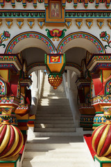 richly decorated porch in the Russian style