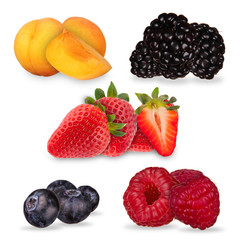 Collection of summer berry fruit on white