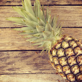 pineapple on wood old retro vintage style