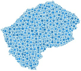 Map of Lesotho - Africa - in a mosaic of blue circles