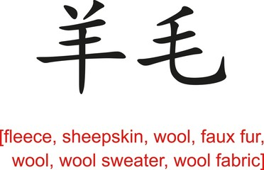 Chinese Sign for fleece, sheepskin, wool, faux fur,wool sweater